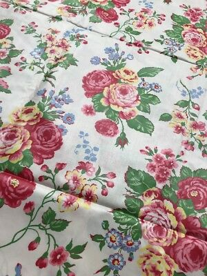 """Vintage Floral Chintz Fabric Pink Yellow Roses 36"""" 4.5+ Yards Unused"""