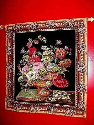 Large Vintage Wall Tapestry Corona Decor Co. Roses & Wild Flowers Bouquet Basket