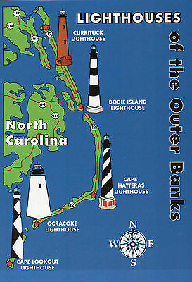 Outer Banks Lighthouses State Map, Cape Hatteras + North Carolina 5 x 7 Postcard