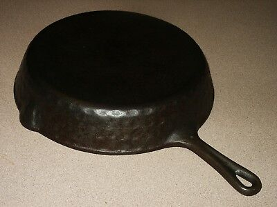 Vintage Cast Iron Skillet Hammered Finish No. 8 Frying Pan Camping Cookware