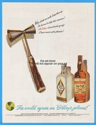 1948 Gilbey's Spey Royal Scotch Whisky Dry Gin Two Sided Shot Measure Ad