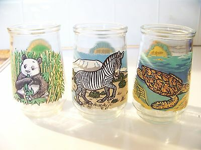 3 Endangered species Welch's jelly juice glass Panda Zebra Sea Turtle 1,3,12