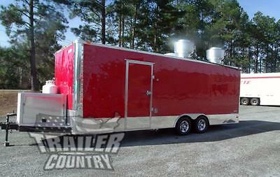NEW 8.5 X 24 Enclosed Mobile Kitchen Tail Gate Food Vending Concession Trailer
