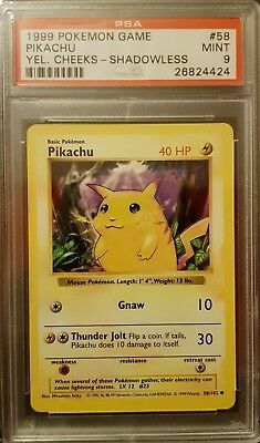 Pokemon Karte Pikachu - Base Basis Set Shadowless - Englisch PSA 9