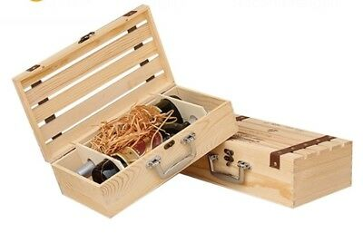 Wooden Two Bottle Wine Gift Box With Handwork
