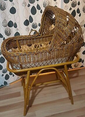 Gorgeous Vintage Retro Baby Moses Cane Wicker Bassinet Basket On Stand
