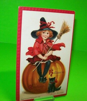 BRUNDAGE Halloween Postcard Antique Series 120 Vintage Black Cat Witch #42