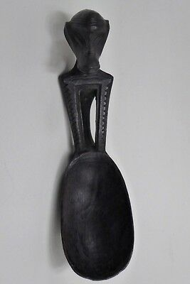 Old African Wooden Carved Figural Spoon Ebonised Statue Ceremonial