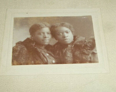 Small Dated 1899 Vtg Black Americana Photo of Twin Sisters in Fur Coats