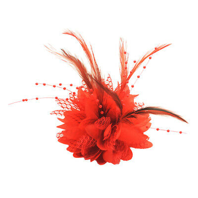 Women Bride Hair Accessory Fascinator Feather Flower Hair Clip Wedding Party