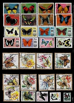 BUTTERFLIES Thematic STAMP Collection USED Ajman BHUTAN Fujeira REF:TS903