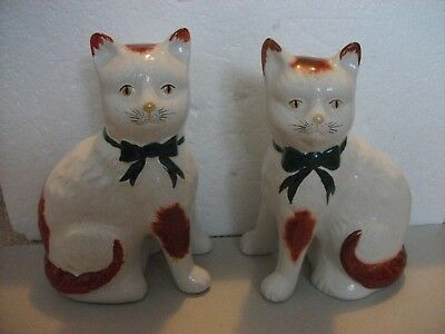 Staffordshire type of China Cats--8 inches high
