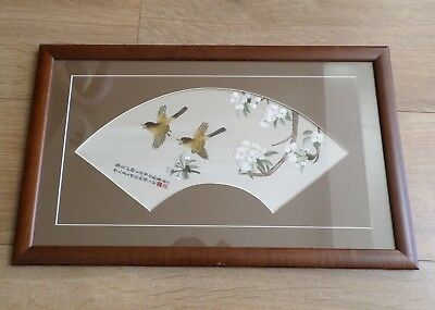 Vintage Chinese Embroidered Picture Panel on Silk - fan shape,birds,calligraphy
