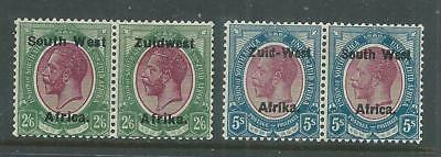 SOUTH WEST AFRICA.YR.1923-26. KGV PAIRS 5s and 2`6. MH.VF