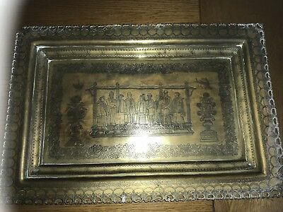 """Chinese Japanese Charger Plaque Brass ? Bronze ? 16"""" X 11"""" Old Rare"""