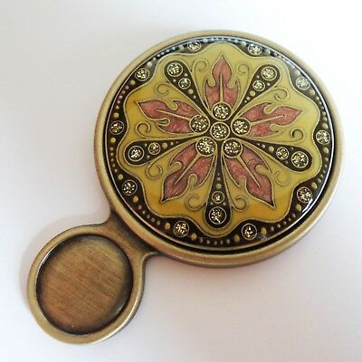 Spain Swarovski Beautiful Unique Vintage Antique Bronze Portable New Hand Mirror