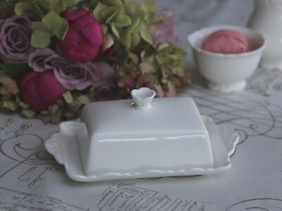 Chic Antique Butterdose Provence Porzellan weiss Vintage Shabby
