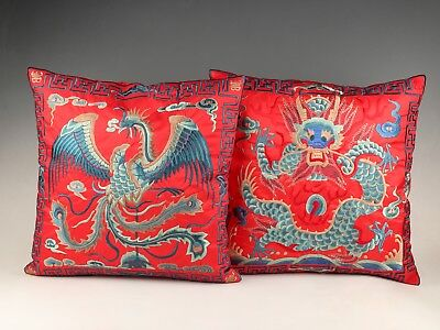 2 Rare Satin  Embroidery Dragon Phoenix Pillowcase Home Decoration