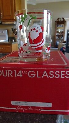 NEW IN BOX 4 SIGNED Vintage Georges Briard Christmas Holiday Santa GLASSES NOS