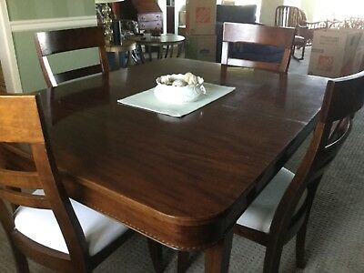 POTTHAST Antique Mahogany Gold Inlaid Dining Table