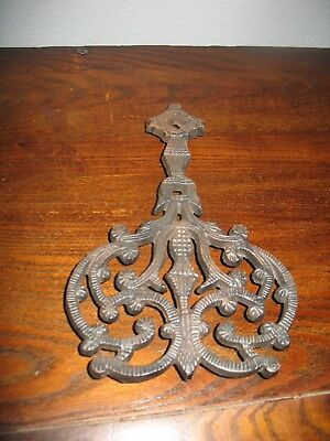 "VINTAGE CAST IRON METAL EARLY AMERICAN TRIVET NUMBERED #540  9"" L x 6"" W x 7/8"""