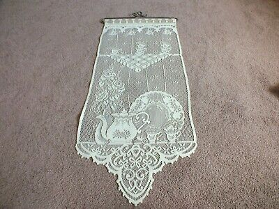 Collectible Beautiful Heritage Lace Wall Hanging Tea Time Off White 26 x 12