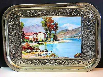 Vintage LOBECO ITALIAN Old World Countryside Decorative Ornate Metal Tray Lake