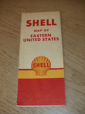 VINTAGE 1951 Shell Oil Gas Eastern United States Highway Road Map North & South