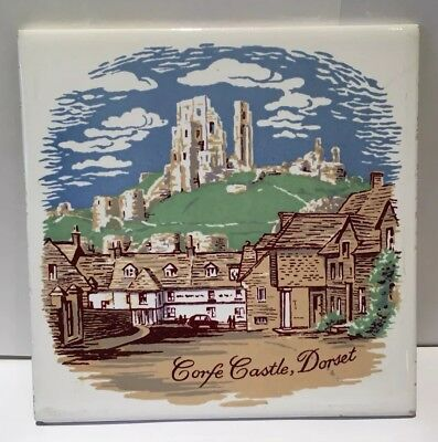 Screen Printed Tile of Corfe Castle by Carter & Co, Poole, 1966