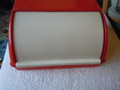 Vintage retro Jury bread bin, red and white with swivel lid 35 x 18 cm