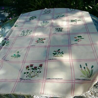Vintage Horticultural Hand Embroidered Tablecloth Botanicals Herbs and Flowers