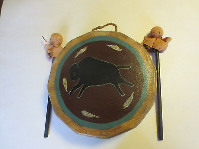 Native American Indian Drum Hand Made W/buffalo On Both Sides