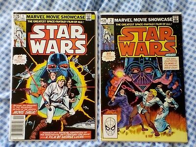 Marvel Movie Showcase 1 and 2 Featuring Star Wars 1,2,3,4,5,6, nice grades