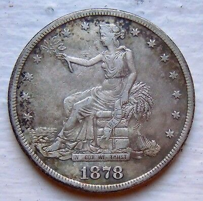 1878S TRADE DOLLAR VF/XF DETAILS (Cleaned)