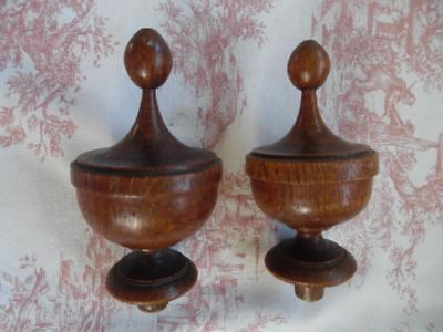 DIVINE PAIR ANTIQUE FRENCH WOODEN FINIALS- NEWELL POSTS / CURTAIN or FURNITURE