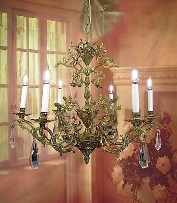 Antique Vintage Chandelier Bronze 6 Lt French Flowers Ballet Dancers Exquisiste