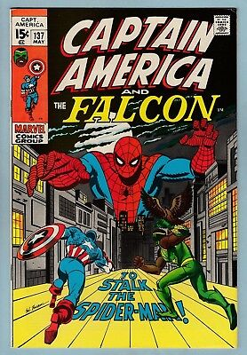 Captain America # 137 Vfn+ (8.5) Spider-Man- Falcon- Nice High Grade Cents- 1971
