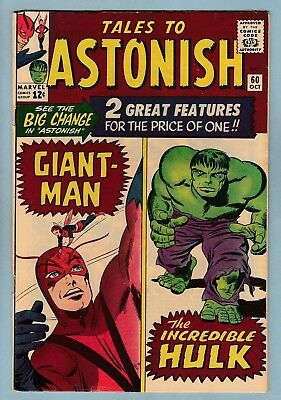 Tales To Astonish # 60 Fn- Giant Man & Hulk Double Feature Begins_Key_Cents_1964