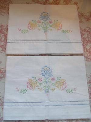 PR VINTAGE 100% COTTON EMPIRE MADE PILLOW CASES / SHAMS -Embroidered
