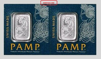 Two {2}  Pamp Suisse 1 Gram  999.5 Platinum Bars  Lady Fortuna - Sealed In Assay