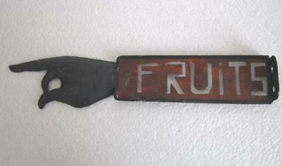 Old Vintage Iron Hand Direction Sign Of Fruits