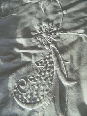 """Antique white Irish linen bedspread with whitework hand embroidery. 108"""" x 88"""""""