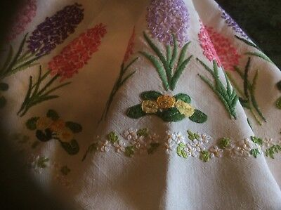 Vintage linen hand embroidered with Hyacinths tea table cloth. 1930s.
