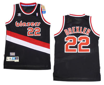 1c565aec441 Clyde Drexler Portland Trail Blazers Adidas Black Throwback Jersey XL LONG