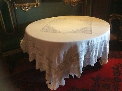 Very large white linen crocheted lace table cloth. Victorian.