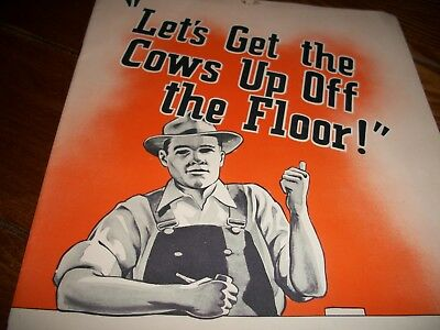 old vintage Let's Get the Cows Up Off the Floor Surge Dairy Farm Equip. brochure