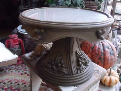 Beautiful Fancy Vintage Cake Stand Pedestal Shabby Chippy Moss Green Acorn Dsign