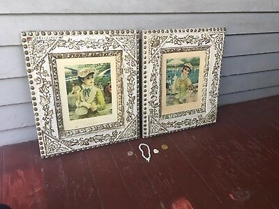 Antique Pair Victorian Gesso Frame White Aesthetic Movement W/gold Leaves Motif