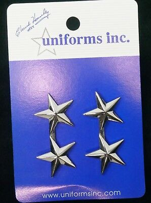"""General/Chief of Police 2 Stars in Silver 1 3/4"""" Wide.  FREE Shipping!"""
