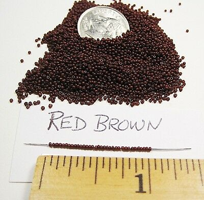 Antique Micro Seed Beads  34 bpi Red Brown 6 gram bag rare handmade doll jewelry
